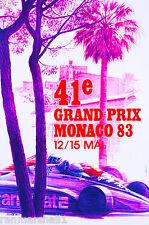 1983 41st Monaco Grand Prix Automobile Race Car Advertisement Vintage Poster