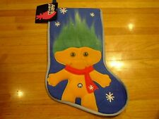 "New ! Christmas Good Luck Trolls Stocking 20"" Long Christmas Decoration Blue"