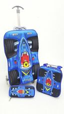 New 3 Piece Wheels Trolley Kids Travel Race Cars Car School Bag Backpack Case B