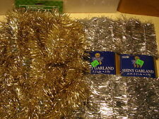 "Tinsel Garland 2-Silver 18' ea.X 2 1/2"" 1-Gold 15' X 3"" Christmas Decoration USA"