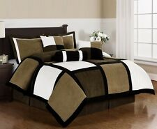 Black Brown White Microsuede Patchwork 7-Piece Duvet Cover Set, Cal King