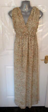 ❤ H&M Gorgeous Size 12 (38) Two Tone Cream Beige Paisley Long Dress Lined