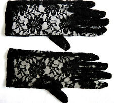 "Victorian Edwardian 9"" Lace Black Gloves Fancy Dress Costume Accessory P2069"