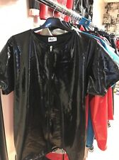 "Misfitz black rubber latex zip T Shirt 48/50""Chest XXL Fetish"
