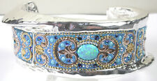 CUFF Designer Bracelet 2 Tone Simulated Opal & Turquoise Crystal Sterling Silver