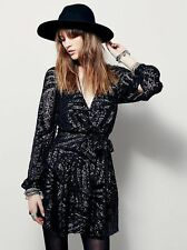 Free People Tiger Eyes Micro Sequin Mini Wrap Around Dress-xs