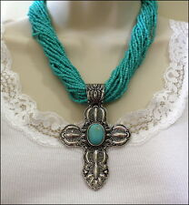 WESTERN Chunky Engraved Cross TURQUOISE Seed Bead NECKLACE Set