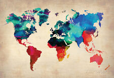 World Watercolor Map 1 Collections Poster Print, 19x13