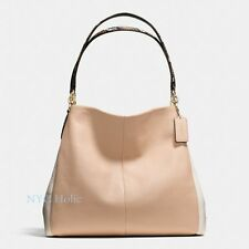 New Coach F38251 Phoebe Shoulder Bag In Exotic Embossed Leather Trim Beechwood