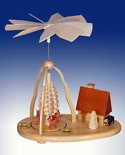Rehpyramide mit Haus Natur23 cm NEU Holz Seiffen Erzgebirge Pyramide Weihnachten