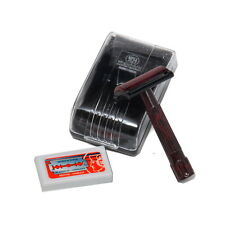 Merkur Double Edge Safety Razor Bakelite Red/Black, Boxed & 10 Blades NEW/BOXED