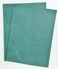 LEATHER PIECES OF COWHIDE 2 @ 20CM X 15CM JADE GREEN 2mm THICK PULL-UP L4C