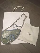 Christian Dior Limited Edition Ostrich Saddle Bag Swarovski Strap Vintage SATC