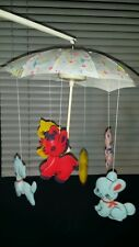 Vintage WORKING!!! 1948  Dolly Toy Company Animal Shower Crib Mobile  MUST SEE!!