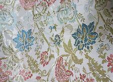 Tessuto Tappezzeria San Leucio Floreale PEONIA Panna Azzurro Rosso 210 x 290 cm
