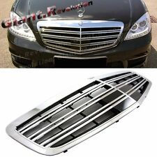 SL65 Look Double Fins Type Chrome Front Vent Grille Fit 10-13 W221 S-Class Sedan