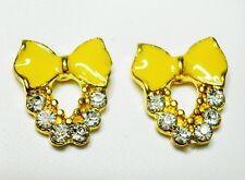 Yellow Bow Enamel Effect Gold Tone Stud Earrings 10 x 15mm
