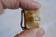 GOLDEN ARROW ANTIQUE TINY POCKET LEATHER CATHOLIC PRAYER HOLDER