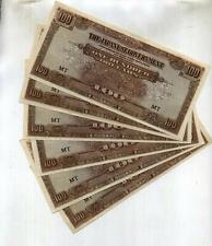 MALAYA $100 JAPANESE CURRENCY LOT OF 6 CU 6319F
