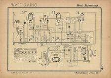 Schema Radioricevitore Watt Radio Mod. Siderodina Radio Industria Milano 1942