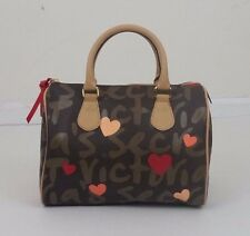 Victoria's Secret Brown Pink Hearts Logo Print Vinyl Satchel Handbag Purse Bag