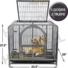 "44"" Heavy Duty Dog Cage Crate Kennel Metal Pet Playpen Portable w/ Tray Door New"