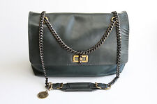 Authentic Lanvin Large Happy Bag Leather Calfskin Dark Green Italy with tag