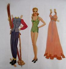 "Beautiful ""Betty Grable"" Vintage Paper Doll w/ Wardrobe of Pretty Clothes *"