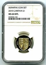 2015 GREAT BRITAIN POUND NGC MS64 DPL LAST ROUND ROYAL SHIELD DESIGN PROOF LIKE