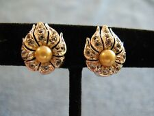 Sterling Silver Earrings with CZs and Pearl 4.7g Clip Back