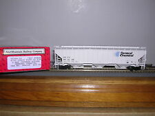 "INTER.#45344 General Chemical ""Gray"" Ribbed Side 3-Bay Cov.Hopper Car w/2 #s H.O"