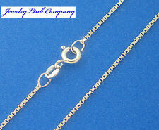 """14K Solid White Gold Box Chain 0.9mm 20"""" 3.4grams Italian made"""