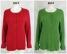 Lot of 2 LL Bean Womens Sz XL Red Green Cable Knit Button Front Cardigan Sweater