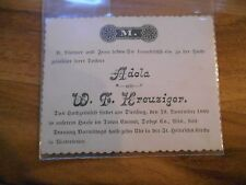 Old Vintage Antique 1889 Wedding Invitation Kreuziget Emmet Watertown Wisconsin