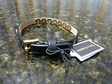 Genuine Juicy Couture Black Leather Pyramid Skinny Braclet $38 Retail YJRU7130