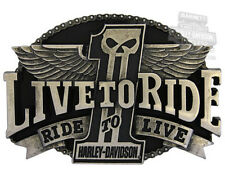Harley-Davidson Mens Uno Live To Ride Dark Custom #1 Skull w/ Wings Belt Buckle