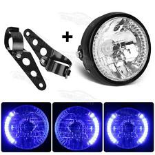 "Universal 7"" Motorcycle Headlight Blue Indicators/Black Mount Bracket for Harley"