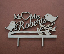 love birds wood wedding cake topper / personalized wood /  Mr & Mrs cake topper