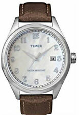 NEW Mens Timex T2N410 Watch Brown Leather Band $95 Pearl Originals Indiglo