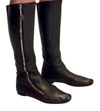Knee high flat black leather boots by Gucci (size 11)