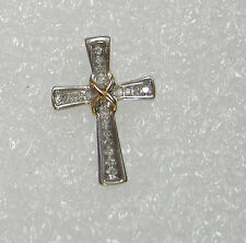 STERLING SILVER & YELLOW GOLD CROSS STUDDED W/ DIAMONDS NECKLACE PENDANT N202-E