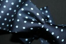 SKY LIGHT Ben Silver Navy Blue Large Polka Dot Silk Tie England Made Trad Ivy
