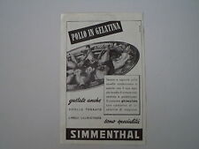 advertising Pubblicità 1952 POLLO IN GELATINA SIMMENTHAL