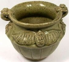 Pristine 19thC Antique Chinese Qing Fanciful Ceramic Salamander + Bat Motif Pot