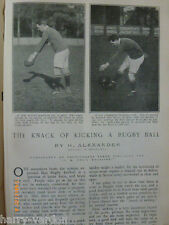 Old Antique Article How to Kick a Rugby Ball 1904 H Alexander England Union