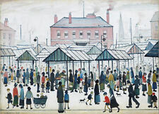 Framed LS Lowry Print – Market Scene (Picture Painting English Artist Artwork)
