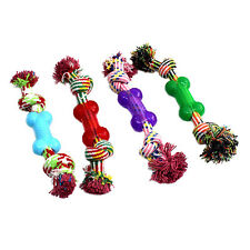 New Puppy Dog Pet Toy Cotton Braided Ruber Bone Rope Chew Knot New Random color
