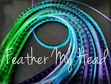 Ombre Tie Dye  Feather Extension Real Grizzly And Solid Whiting Rooster Feathers