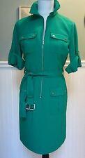 NWT MICHAEL KORS - SZ M Rolled Sleeve Belted Zip Front Shirt Dress PEPPER GREEN