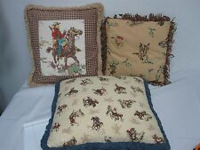 "3 VINTAGE COWBOY THROW PILLOWS HA'PU w SUEDE FRINGE & OTHERS 12 1/2"" - 17"""